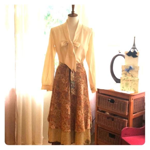 Vintage Tops - Vintage 70's silk blouse, bow tie- Victor Joris